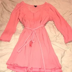 Pink summer dress with lace top and rope belt